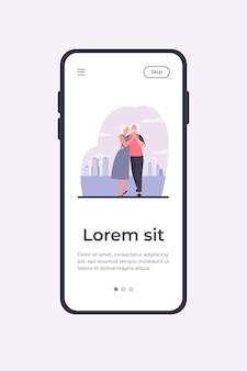 Senior paar dansen buiten. oude man en vrouw hand in hand en omarmen platte vectorillustratie. liefde, relatie, ouderen concept mobiele app-sjabloon