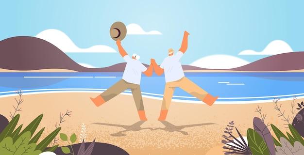 Senior paar dansen oude man en vrouw plezier actieve ouderdom concept zeegezicht achtergrond horizontale volledige lengte vectorillustratie