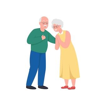 Senior paar egale kleur gedetailleerde karakter cartoon illustratie