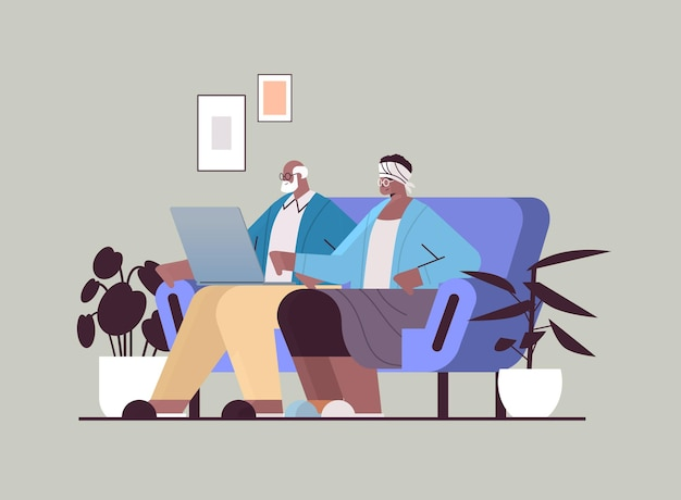 Senior paar met behulp van laptop grootouders ontspannen thuis sociale media netwerk online communicatie concept horizontale volledige lengte vectorillustratie