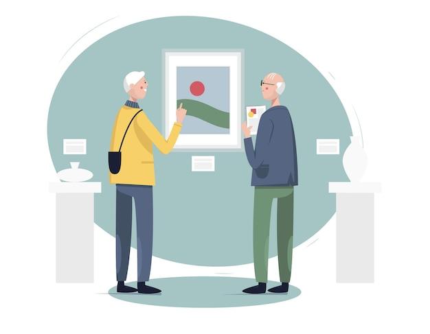 Senior sociaal actief levensstijlconcept senior mannen die kunstgalerie of museumtentoonstelling bezoeken