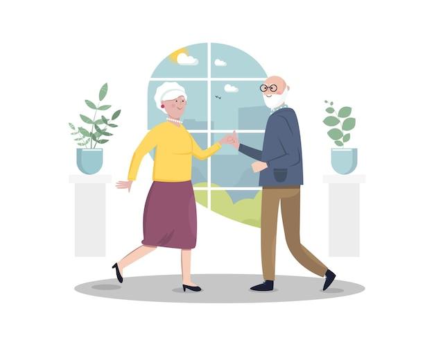 Senior sociaal actief levensstijlconcept senior vrouw en man dansen platte vectorillustratie