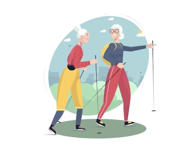 Senior sociale en sportieve actieve levensstijl senior vrouwen nordic walking op de achtergrond van het stadslandschap