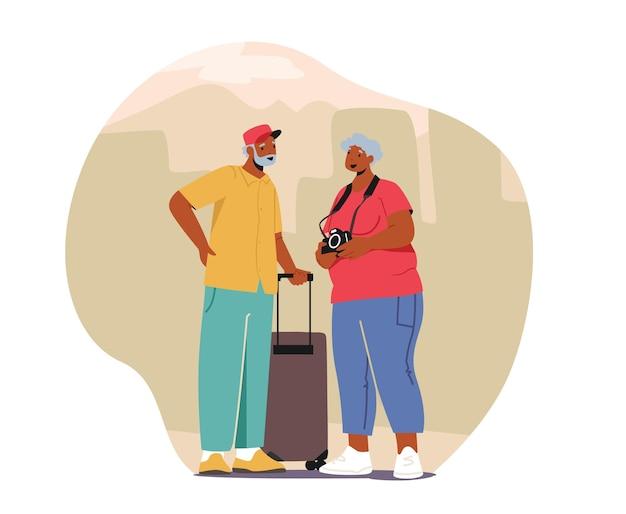 Senior toeristische personages in trip, oudere reizende mensen