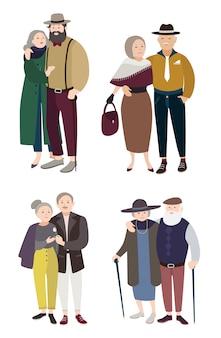 Senior verliefde stelletjes. relaties met bejaarde man en vrouw. kleurrijke platte illustratie.
