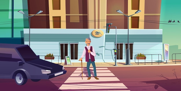 Senior voetganger kruist weg met auto te wachten op verkeerslichten signaal