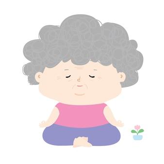 Senior vrouw doet meditatie, grootmoeder karakter doet mindfulness oefeningen illustratie