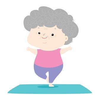 Senior vrouw doet yoga, grootmoeder karakter doet ochtend oefeningen illustratie