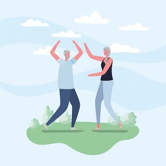 Senior vrouw en man cartoons met sportkleding bij parkontwerp, activiteitenthema