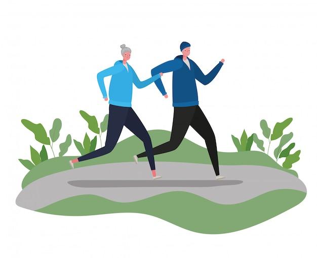 Senior vrouw en man tekenfilms met sportkleding die bij parkontwerp, activiteitsthema lopen
