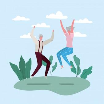 Senior vrouw en man tekenfilms springen bij parkontwerp, activiteitenthema