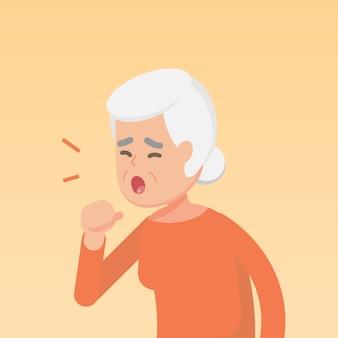 Senior vrouw hoesten