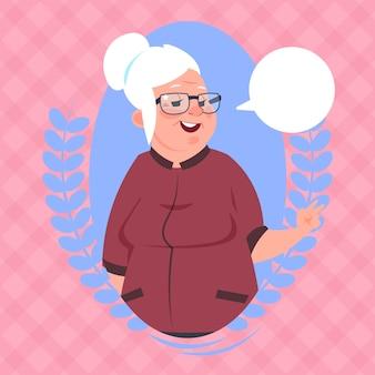 Senior vrouw met chat bubble moderne grootmoeder pictogram lady