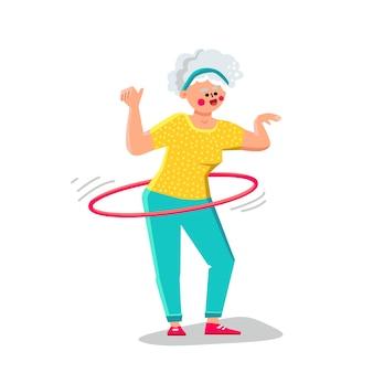 Senior vrouw oefenen met hoelahoep vector. bejaarde dame die oefening met hoelahoep sportieve uitrusting maakt. karakter grootmoeder sport en gezondheid actieve tijd platte cartoon afbeelding