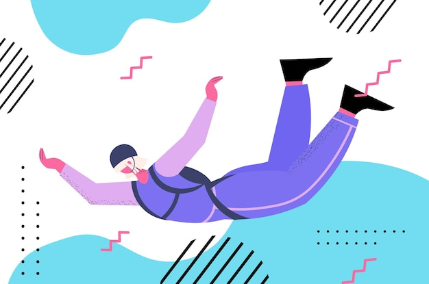 Senior vrouw vliegt naar beneden tijdens parachutespringen sprong oude skydiver zwevend in de lucht met parachute vrije val actieve ouderdom