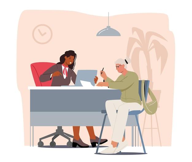 Senior vrouwelijk cliëntkarakter in gesprek met manager of analisten van kredietafdeling in bankkantoor, bankdiensten