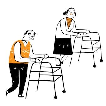 Senior wandeling met rollator, hand tekenen vector illustratie doodle stijl