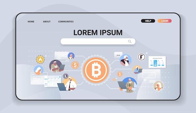 Senior zakenmensen die geld verzenden online overschrijving internet betaling cryptocurrency blockchain concept horizontaal portret vectorillustratie