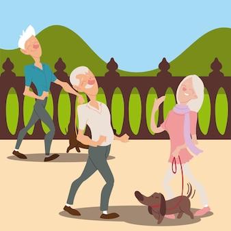 Senioren actief, bejaarde echtpaar met hond en oude man wandelende illustratie