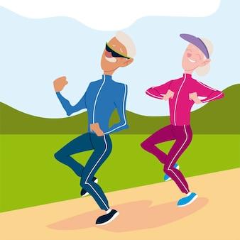 Senioren actief, oude man en vrouw joggen karakters illustratie
