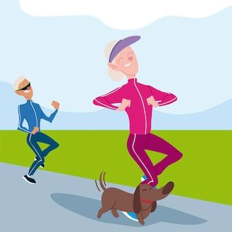 Senioren actief, oude man en vrouw joggen met de illustratie van hondkarakters