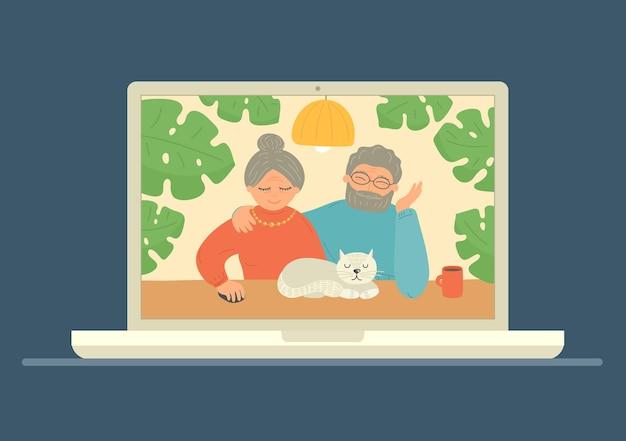 Senioren koppelen videoconferentie op laptop. blijf thuis. illustratie.