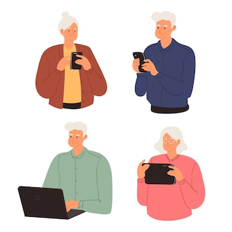 Senioren met behulp van technologie flat-hand getrokken s
