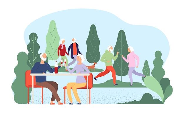 Senioren rusten. ouderen vectorillustratie. grootmoeder grootvader karakters. oude stellen drinken wijn, wandelen met hond. grootvader en grootmoeder bejaarde senior, volwassene houden samen van illustratie