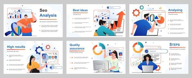 Seo-analyseconcept voor presentatiedia-sjabloon mensen analyseren website optimaliseren