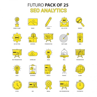Seo analytics icon set. geel futuro nieuwste ontwerp icon pack