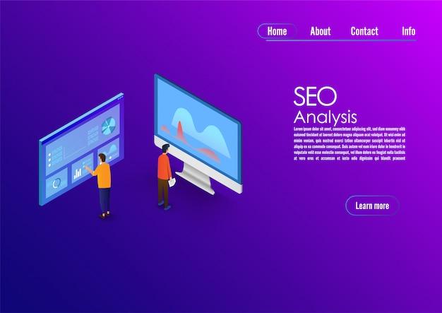 Seo analytics team bestemmingspagina. it-specialisten met computer werken rond analytische webpagina's met grafieken.