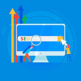 Seo banner. werk aan de inhoud van de site en het indexeren van zoekmachines.