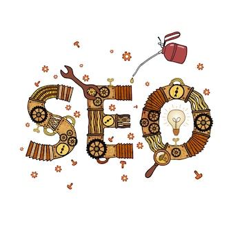 Seo-concept retro geïsoleerd symbool