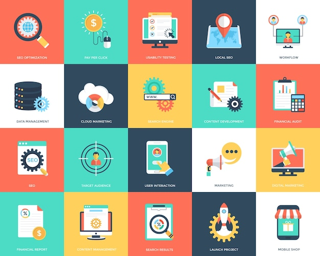 Seo en marketing flat vector icons set