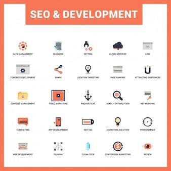 Seo en ontwikkeling flat icon set
