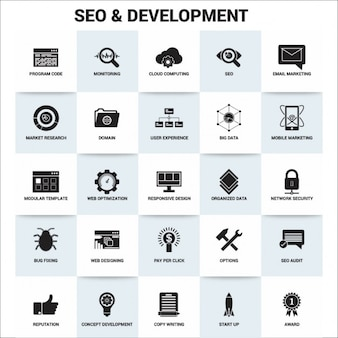 Seo en ontwikkeling icon set