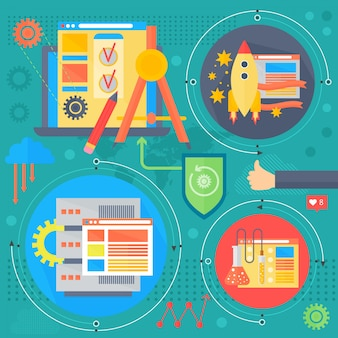 Seo en ontwikkelingsconceptontwerpinfographics in cirkelsontwerp