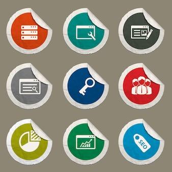 Seo- en ontwikkelingspictogrammen voor websites en gebruikersinterface