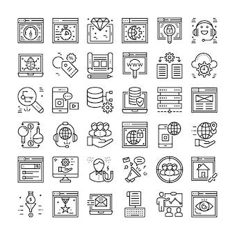 Seo en web icons set