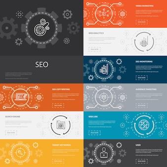 Seo infographic 10 lijn iconen banners. zoekmachine, target trefwoorden, web analytics, seo monitoring eenvoudige pictogrammen