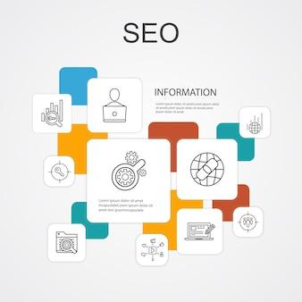 Seo infographic 10 lijn iconen sjabloon. zoekmachine, target trefwoorden, web analytics, seo monitoring eenvoudige pictogrammen