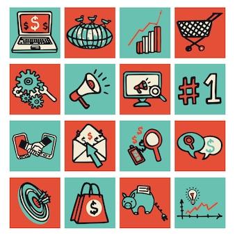 Seo-internettechnologie die gekleurde schets decoratieve pictogrammen op de markt brengen geplaatst vectorillustratie