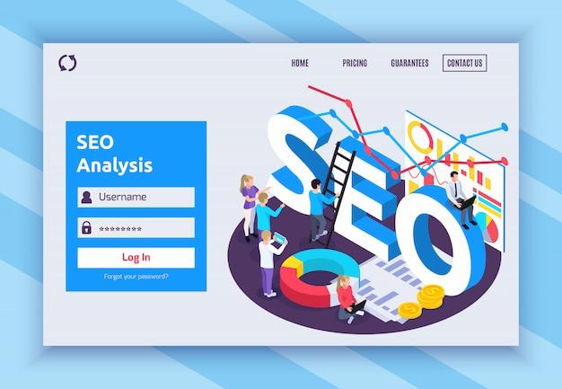 Seo isometrisch paginaontwerp met prijs- en garantiesymbolen