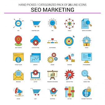 Seo marketing flat line icon set - ontwerp van de bedrijfsconceptenpictogrammen