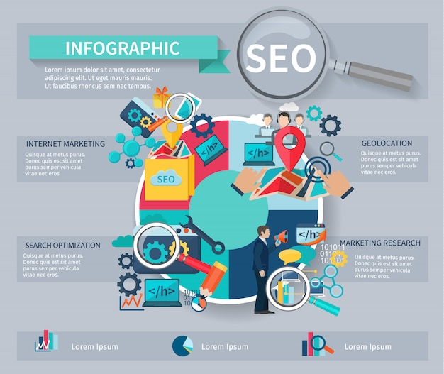 Seo marketing infographics instellen met internet zoeken website zoeken optimalisatie symbolen