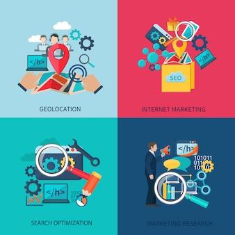 Seo marketing ontwerp concept instellen met geolocation zoeken optimalisatie plat pictogrammen geïsoleerde vectorillustratie