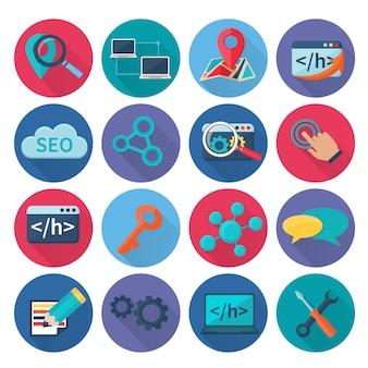 Seo marketing zoek optimalisatie en web analytics pictogrammen plat lange schaduw instellen geïsoleerde vectorillustratie