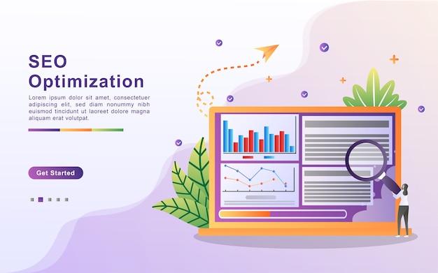 Seo optimalisatie concept. seo-marketingbedrijf, seo-resultaatoptimalisatie, seo-ranking.