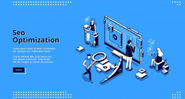 Seo-optimalisatie isometrische bestemmingspagina-banner