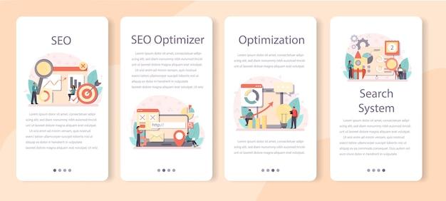 Seo optimizer banner set voor mobiele applicaties